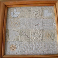 vintage style embroidered woven canvas textile framed picture