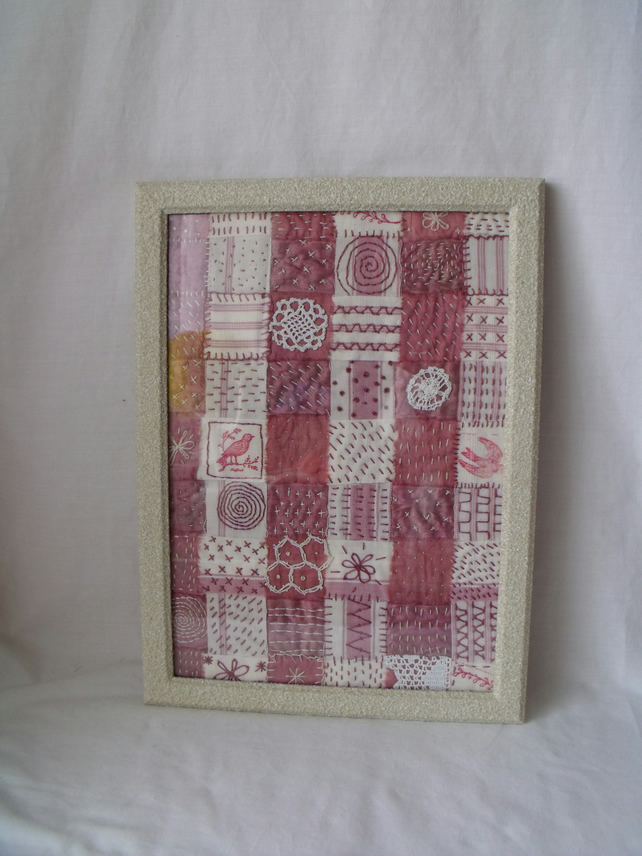 vintage style embroidered woven canvas & silk textile framed picture