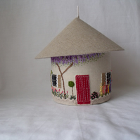 cute embroidered house storage box with removable lid