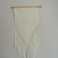 ivory cotton crocheted wall hanging with fringe