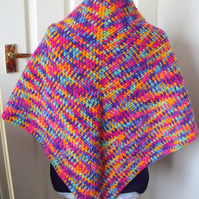 multicoloured bright crocheted shawl