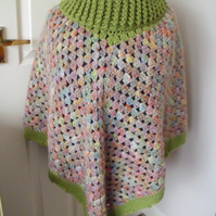 ladies crocheted roll neck poncho in green, one size