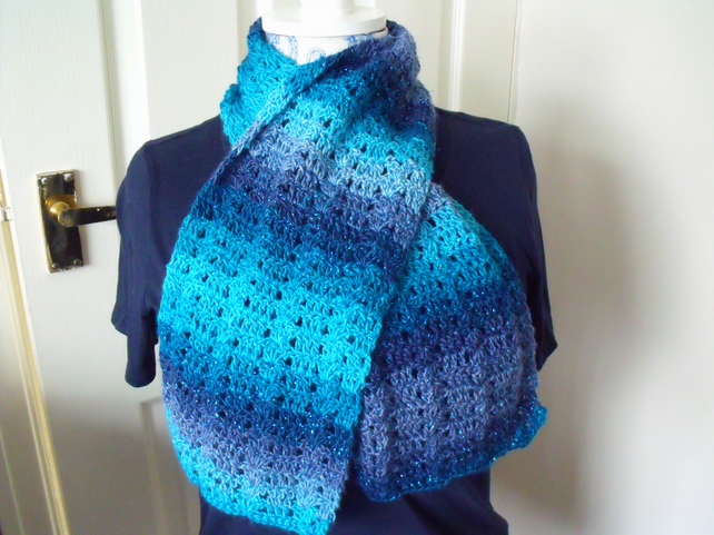 blue sparkly crocheted scarf, crochet clothing accessory