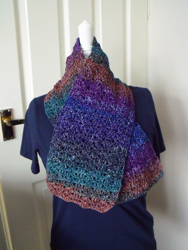 multicoloured glittery short crocheted scarf, crochet clothing accessory