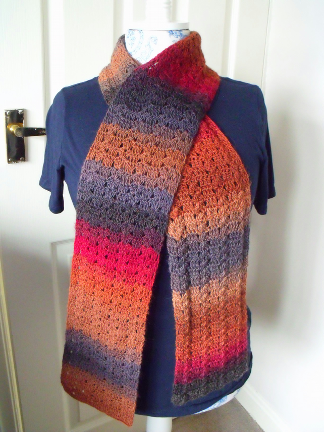 multicoloured autumnal crocheted scarf, neck warmer