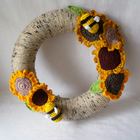 autumnal sunflower crocheted wreath with bees