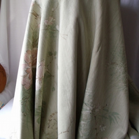 upholstery weight cotton floral fabric, soft furnishing fabric, pale green