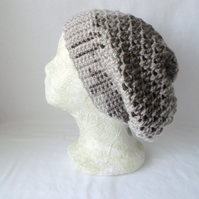 Taupe crocheted slouchie beanie hat with criss cross stitches