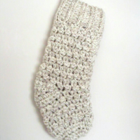 crocheted christmas stocking in oatmeal