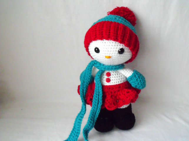 cute crocheted snowman, snow girl christmas decoration