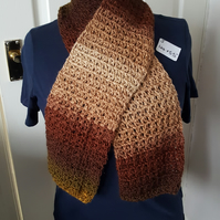 brown autumnal lightweight crocheted scarf, 44 x 5.5 inches