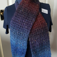 brown and blue lightweight lacy crocheted scarf, 48 x 6 inches