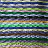 green and blue granny striped blanket throw, 42 x 61 inches