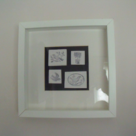 clay mosaic style bird picture in monochrome, 10 x 10 inches, 1 of 2 available