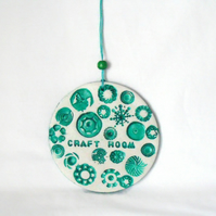 clay craft room sign in dark turquoise green for hanging from your wall or door