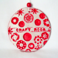 clay craft room sign in red for hanging from your wall or door
