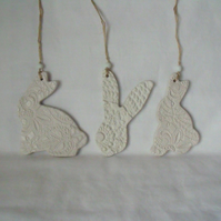 set of three easter bunny ceramic decorative hangers, unpainted