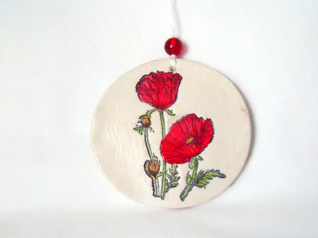 ceramic poppy hanging decoration
