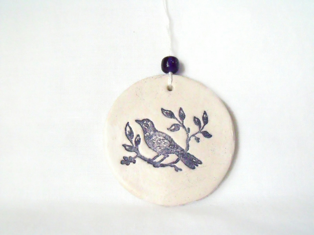 ceramic bird hanging decoration in black and white