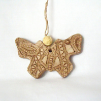 ceramic butterfly hanging decoration in beige