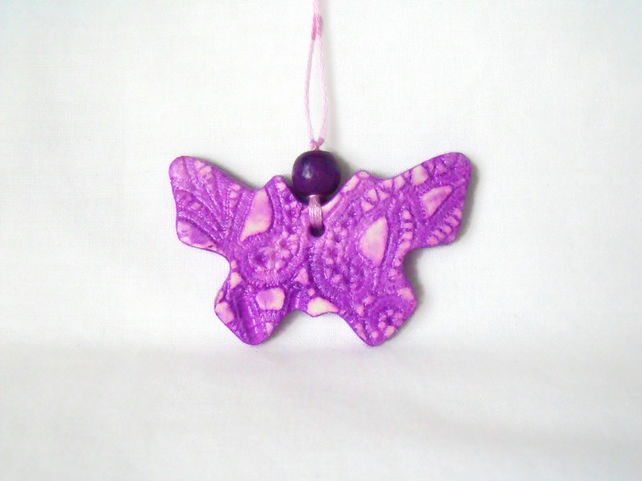 ceramic butterfly hanging decoration in purple