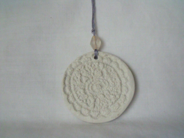 ceramic round lace hanging decoration, unpainted