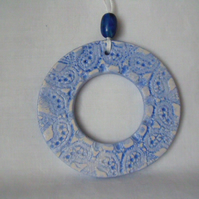 ceramic lace wreath hanging decoration in blue
