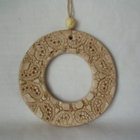 ceramic lace wreath hanging decoration in beige