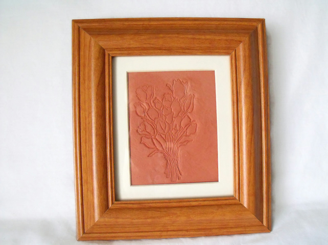 impressed terracotta tile in a box frame, tulip design, 8 x 9 inches