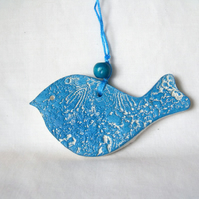 ceramic lace hanging bird decoration in blue