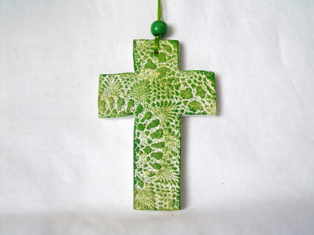 ceramic lace hanging cross decoration in green