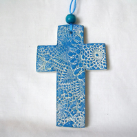 ceramic lace hanging cross decoration in blue