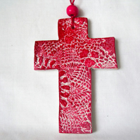 ceramic lace hanging cross decoration in red