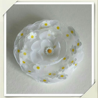 White Yellow Camomile Hair Flower Brooch
