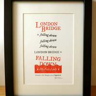 London Bridge Is Falling Down - Letterpress Print A5