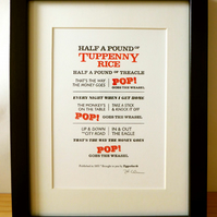 Pop! Goes The Weasel - Letterpress Print A5
