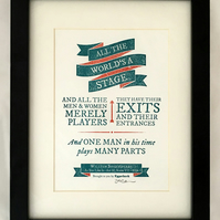 Shakespeare: As You Like It 'All the World's A Stage' - A5 Letterpress Print