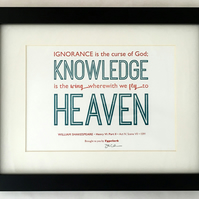 Shakespeare: Henry VI, Part II 'Knowledge Is... Heaven' - A5 Letterpress Print