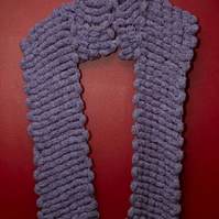 Lilac and Purple Knitted Scarf