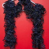 Navy Blue Lacy Effect Scarf