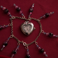 Heart Shaped Bracelet Beaded Watch