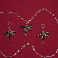 Dragonfly Necklace and Earrings