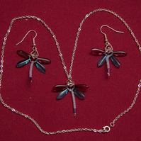 Purple and Turquoise Dragonfly Necklace and Earrings
