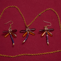 Purple and Amber Dragonfly Necklace and Earrings