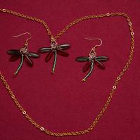 Red and Green Dragonfly Necklace and Earrings