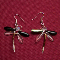 Black and White Dragonfly Earrings