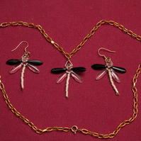 Black and White Dragonfly Necklace and Earrings