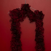 Red and Gold Lacy Effect Scarf