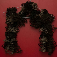 Brown, Beige and Black Lacy Effect Scarf