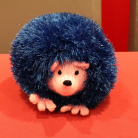 Large Blue Glitter Hedgehog Soft Toy